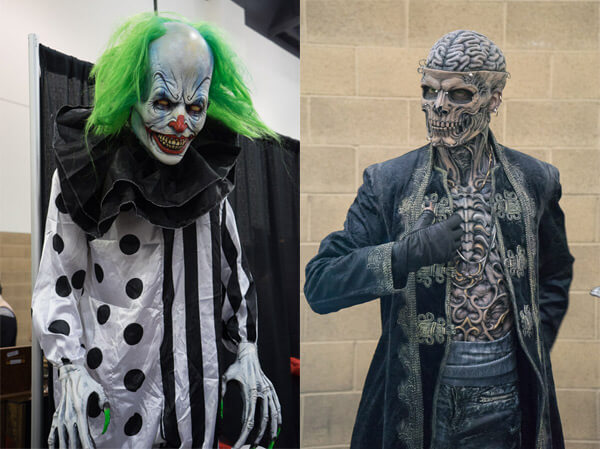 Evil Clown, Skeleton Makeup at Monsterpalooza 2016 Pasadena