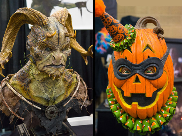 Monster and Pumpkin Mask Display at Monsterpalooza 2016 Pasadena