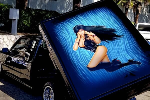 Elvira airbrushed on truck
