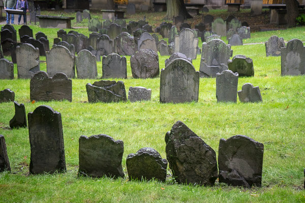 View of the gravestones from The Granary Burying Ground in Boston