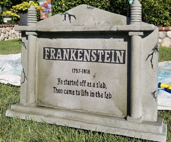 Frankenstein tombstone top coat painting