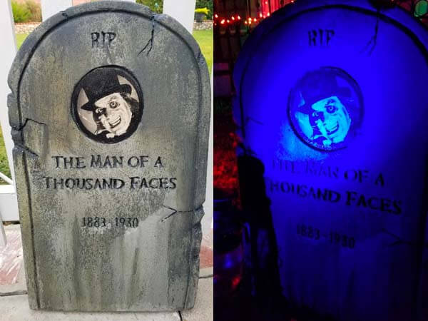 Lon Chaney tribute tombstone.