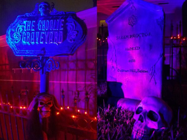 Ghoulie Graveyard and Sarah Proctor Salem witch tombstone