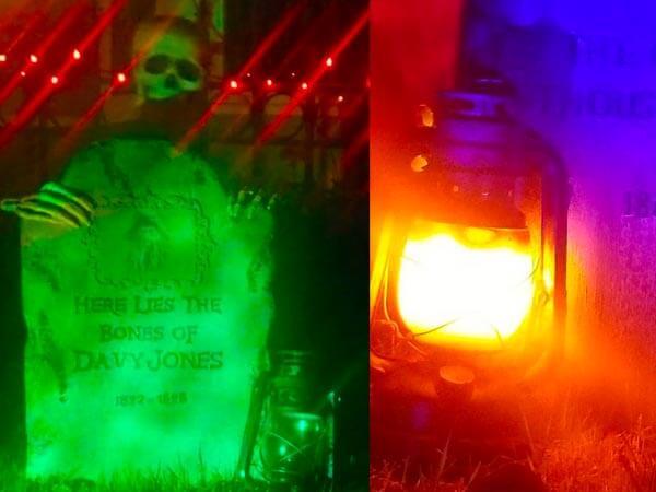 Davy Jones tombstone and flickering lantern