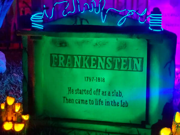 Brightly lit tombstone with LED spotlights